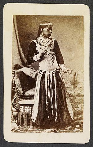 Ghawazi - A khawal (dancing boy) dressed in ghaziya dancing costume (c. 1870).