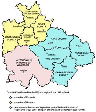 Danube–Criș–Mureș–Tisa Euroregion - Map of DKMT (1997-2004).