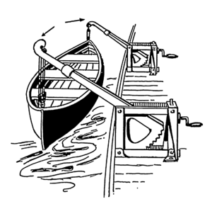 Davit - Boat suspended from radial davits, instead of a moving the bend of a goose neck, it is mechanically lowered