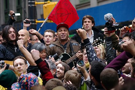 Morello playing Occupy Wall Street in New York, October 2011 Day 28 Occupy Wall Street Tom Morello 2011 Shankbone 6.JPG