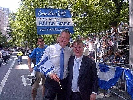 De Blasio at the Celebrate Israel Parade in June 2013 De Blasio at Celebrate Israel Parade (8927511453).jpg