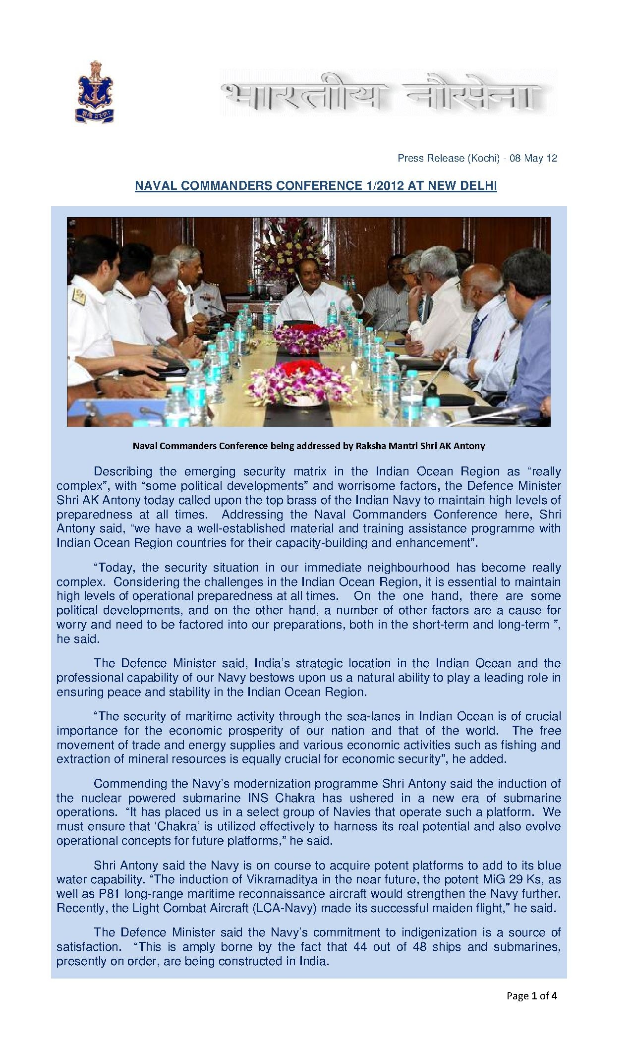 File:Defence Minister AK Antony inaugurates Naval Commanders