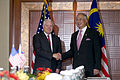 Defense.gov News Photo 110603-D-XH843-004 - Secretary of Defense Robert M. Gates meets with Malaysian Prime Minister Mohamed Najib at the Shangri-La Hotel in Singapore during the 10th.jpg
