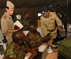 Foreign relations of Nigeria - Defence attachés from Pakistan and Russia visit the communications tent at the Nigerian Air Force Base, Abuja, Nigeria, on July 21, 2008, during Africa Endeavour 2008.