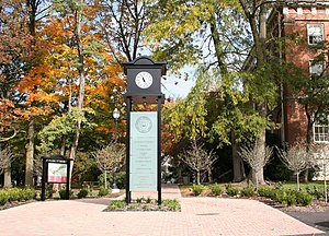 Campus clock in front Wesleyan's Sturges Hall ...