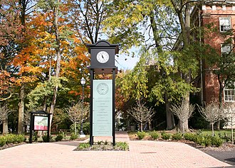 Delaware, Ohio - Campus clock in front of Ohio Wesleyan's Sturges Hall located near Sandusky Street