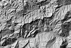 Hillshade model derived from a Digital Elevation Model (DEM) of the Valestra area in the northern Apennines (Italy)