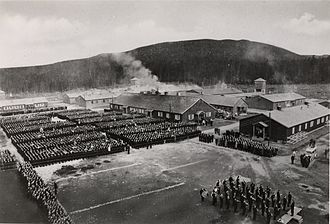 Grini detention camp - Recent parade alignment of prisoners during World War II