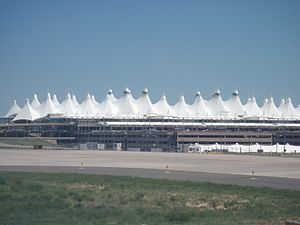 Denver International Airport - The Teflon-coated fiberglass roof of Denver International Airport resembles the Rocky Mountains