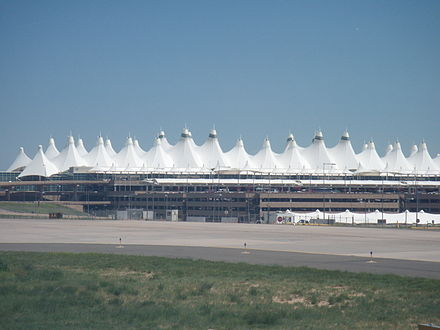 The main terminal of Denver International Airport evokes the peaks of the Front Range. DIA.jpg