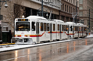 Regional Transportation District - RTD Line D train in downtown Denver