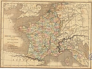 130 departments of the First French Empire -  Map of the First French Empire in 1811: Empire français divisé en 130 départements by MM. Drioux and Leroy