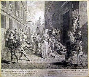 Comédie-Italienne - Départ des comédiens italiens en 1697, engraving by L. Jacob of the painting by Watteau