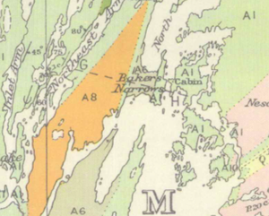 Bakers Narrows - First published map (1917) to use the place name Bakers Narrows