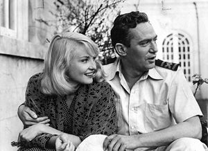 Peter Finch - With Diane Cilento during filming of Passage Home (1955)