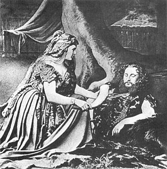 Die Walküre - Act 1 of the 1870 premiere of Die Walküre:  Sieglinde (Therese Vogl) and Siegmund (Heinrich Vogl)
