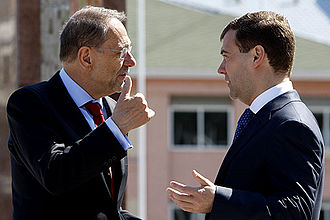 High Representative of the Union for Foreign Affairs and Security Policy - Javier Solana with the Russian President Dmitry Medvedev, in 2008.