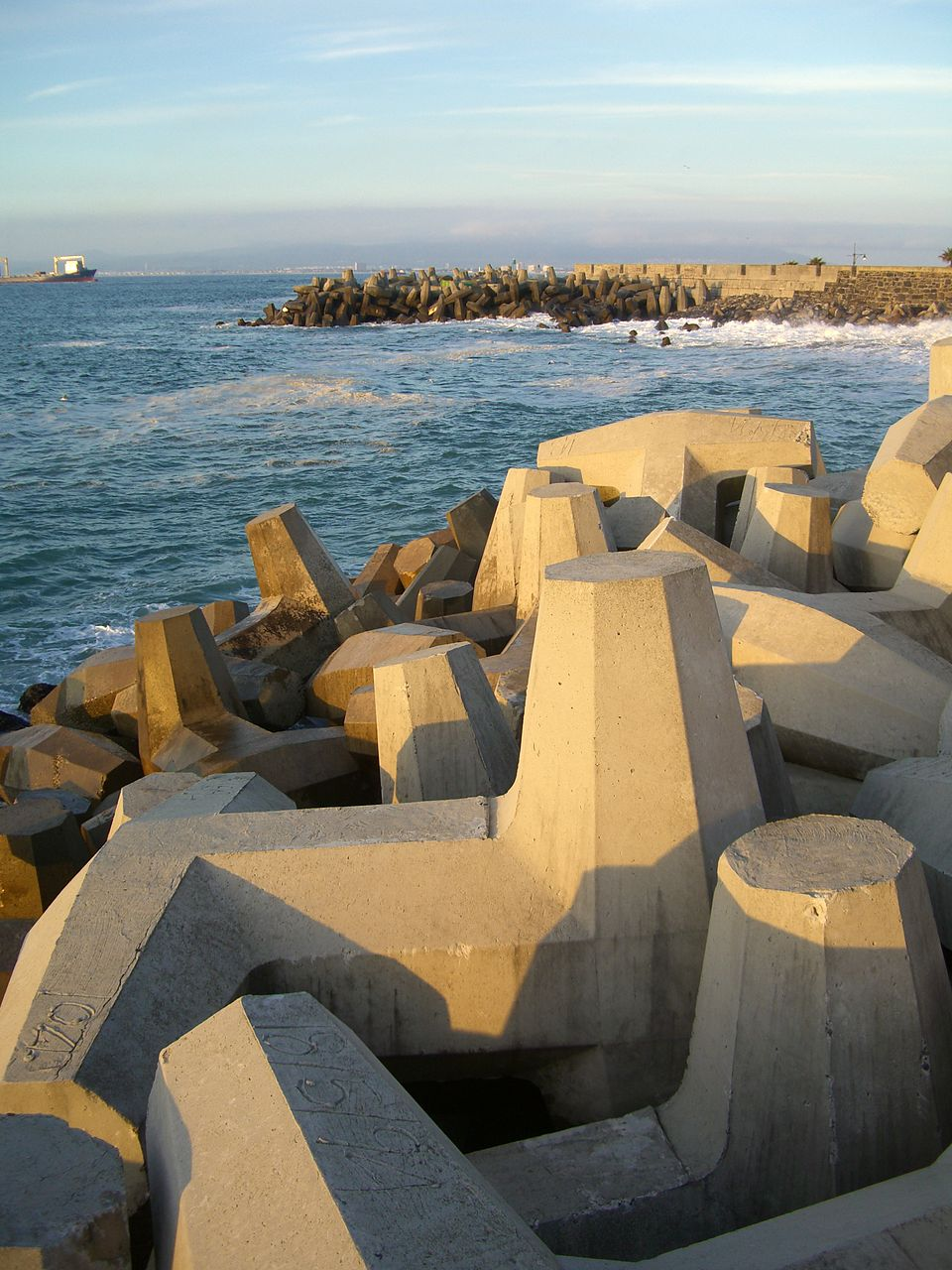 Dolosse forming a protective structure against a shoreline in Cape Town, South Africa