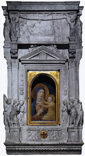 Lippo Memmi - The famed Madonna della Febbre, canonically crowned by Pope Urban VIII in 27 May 1631. Sacristy of Saint Peter's Basilica, Rome