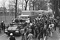 Door vrachtwagens geblokkeerde grensovergang Wuustwezel de marechaussee ontruimd, Bestanddeelnr 927-6118.jpg