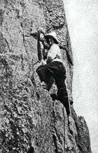 Dora Keen - Dora Keen climbing the Dent Du Requin in France, 1910