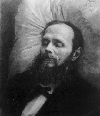 1881 in literature - Dostoyevsky on his bier, drawing by Ivan Kramskoi
