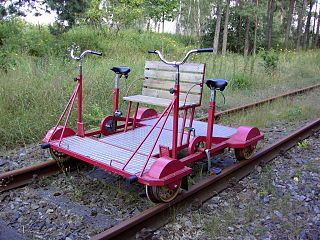 Draisine small powered rail vehicle used by track maintenance workers