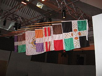 Fort Carillon - Regiment flags at Fort Carillon