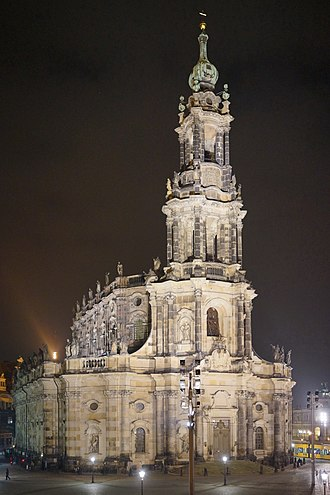 Dresden Cathedral - Front from the Elbterrasse