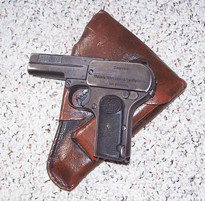 Dreyse M1907 - Dreyse m1907. This example has World War I Imperial German ordnance acceptance stamps, and a late World War II issued Presstoff holster