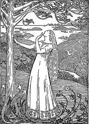 Saga - Dronning Ragnhilds drøm (Queen Ragnhild's dream) from Snorre Sturlassons Kongesagaer by Erik Werenskiold,  c. 1899