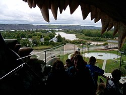"The view from ""The World's Largest Dinosaur"" facing west over the Red Deer River valley."