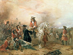 Battle of Blenheim - The Duke of Marlborough Signing the Despatch at Blenheim. Oil by Robert Alexander Hillingford.