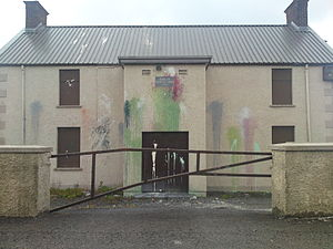 Dunloy - Dunloy Orange Hall after a paint attack