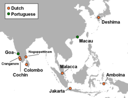 Dutch and Portuguese in Asia c 1665