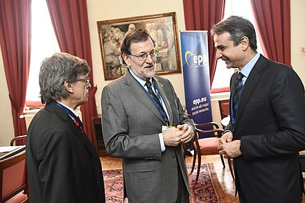 Mitsotakis and Spanish Prime Minister Mariano Rajoy in 2017 EPP Summit, Brussels, March 2017 (33212125861).jpg