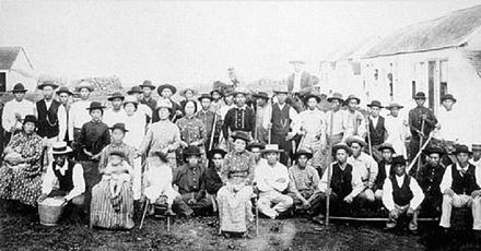 Japanese immigration to Hawaii was largely fueled by the high demand for plantation labor in Hawaii post-annexation. Early Japanese immigrants to Hawaii.jpg