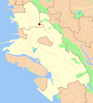 Claremont, Oakland/Berkeley, California - Image: East bay claremont locator map