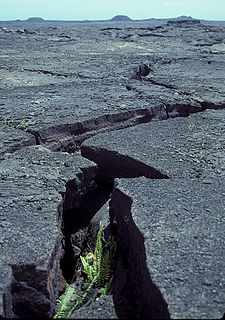 Part of a volcano where a set of linear cracks form