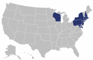Eastern Association of Rowing Colleges - Map of states where participating institutions are located