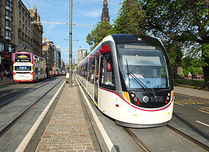Edinburgh Trams - A tram on Princes Street in May 2014