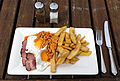 Egg beans gammon and chips at Stable Yard Hatfield House Hertfordshire England.jpg