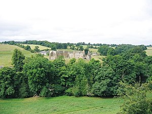 Egglestone Abbey - View of Egglestone Abbey from the north, the River Tees is behind the line of trees