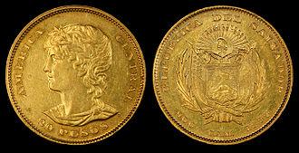 Salvadoran peso - El Salvador 1892 20 Pesos, first year of issue for gold coins