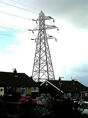 National Grid (Great Britain) - Electricity pylons in an urban area in Pudsey, West Yorkshire.