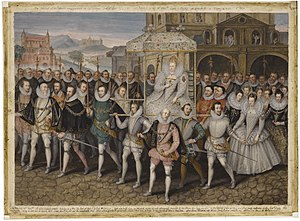 History of women in the United Kingdom - The Procession Picture, c. 1600, showing Elizabeth I borne along by her courtiers.