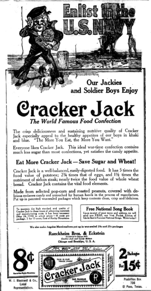Cracker Jack - 1918 Cracker Jack ad, asking readers to enlist in the Navy. Eating Cracker Jack would save valuable sugar and wheat for the war effort.