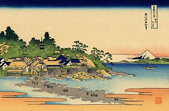 "Enoshima - ""Enoshima in the Sagami Province"" by Hokusai (part of the series Thirty-six Views of Mount Fuji)"