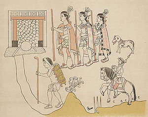 Tlaxcala (Nahua state) - Tlaxcaltecâ allies accompany Hernán Cortés during the Spanish conquest of the Aztec empire, 1519, from the History of Tlaxcala.