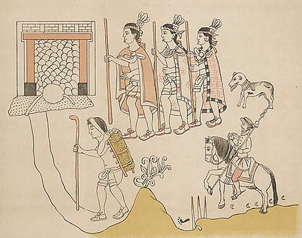 Tlaxcalan allies of the Spanish, showing their leaders, porters, as well as a Spanish warrior and a Spanish war dog. Lienzo de Tlaxcala Entrada a Chalco.jpg